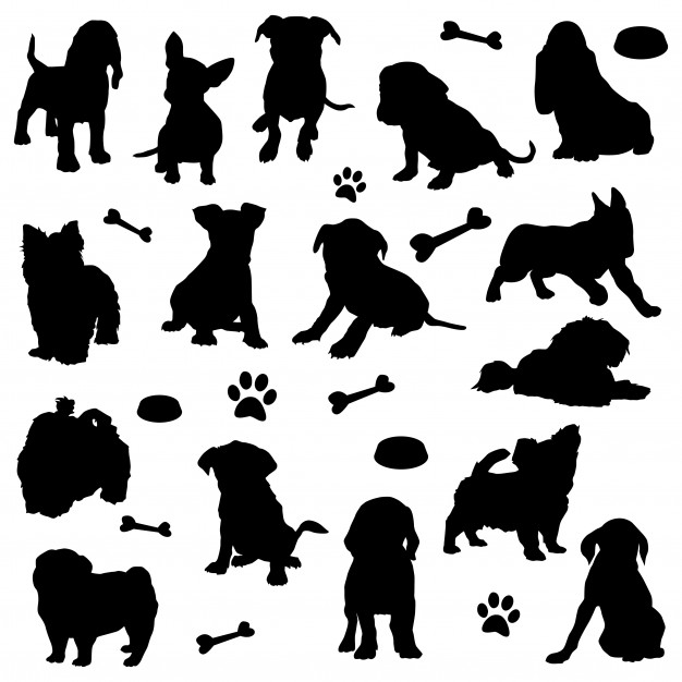 Puppy dogs animal home pet silhouette clip art Vector.
