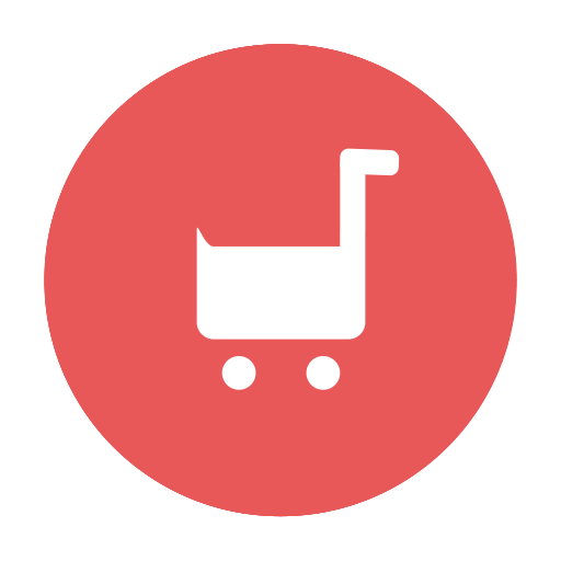 Buy, cart, circular, modern, purchase, red, shopping, tray icon.