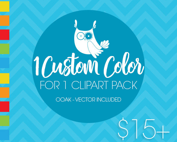 Custom color for 1 (one) PACK, custom color for purchased clipart.