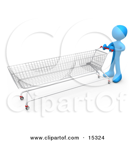 Orange Person Pushing A Super Long Shopping Cart In A Store While.