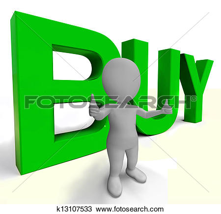 Drawing of Buy Letters As Sign for Commerce And Purchasing.