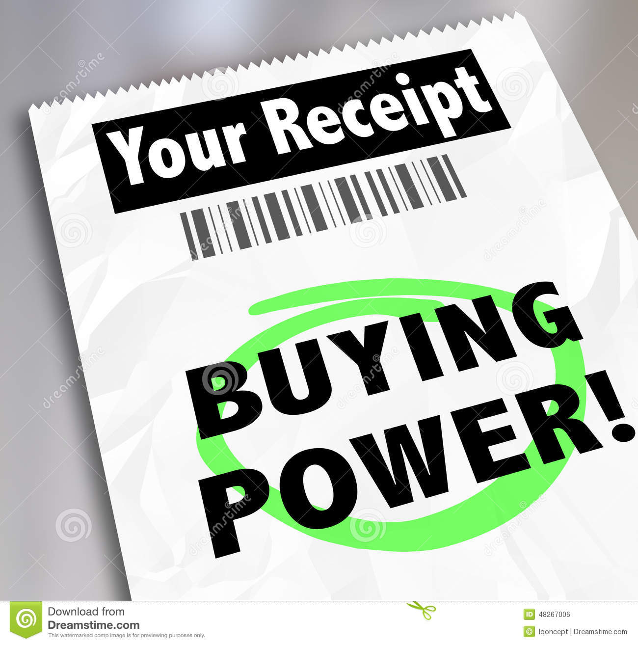 Buying Power Words Paper Receipt Purchase Shopping Saving Money.