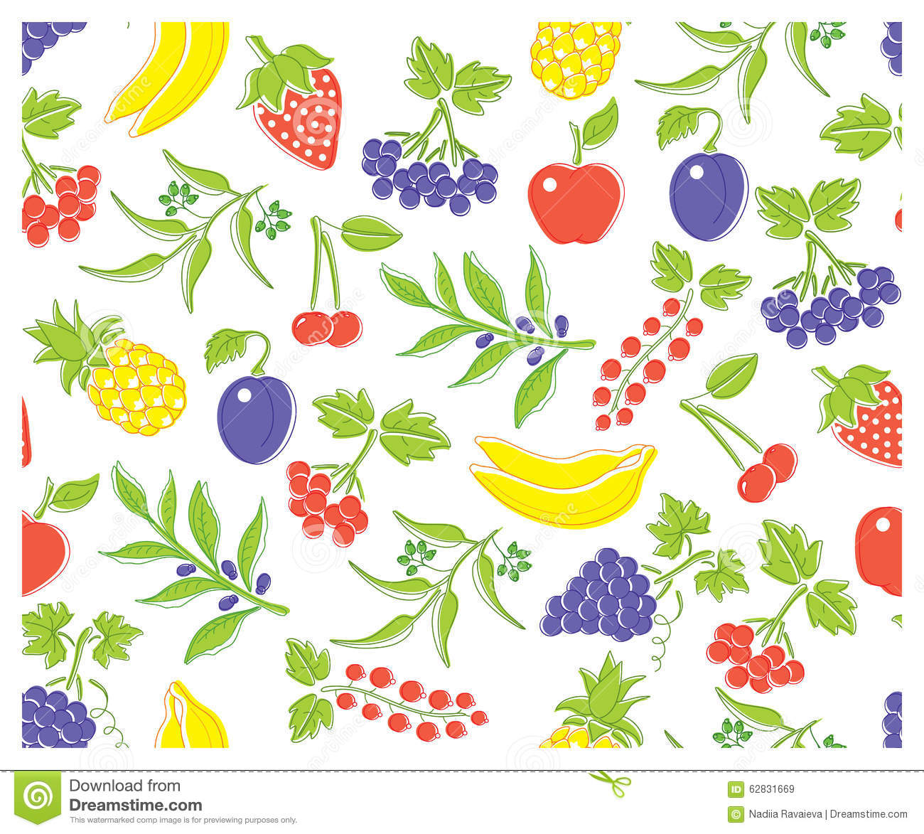 Vector Different Types Of Delicious Fruits And Berries. In Pure.