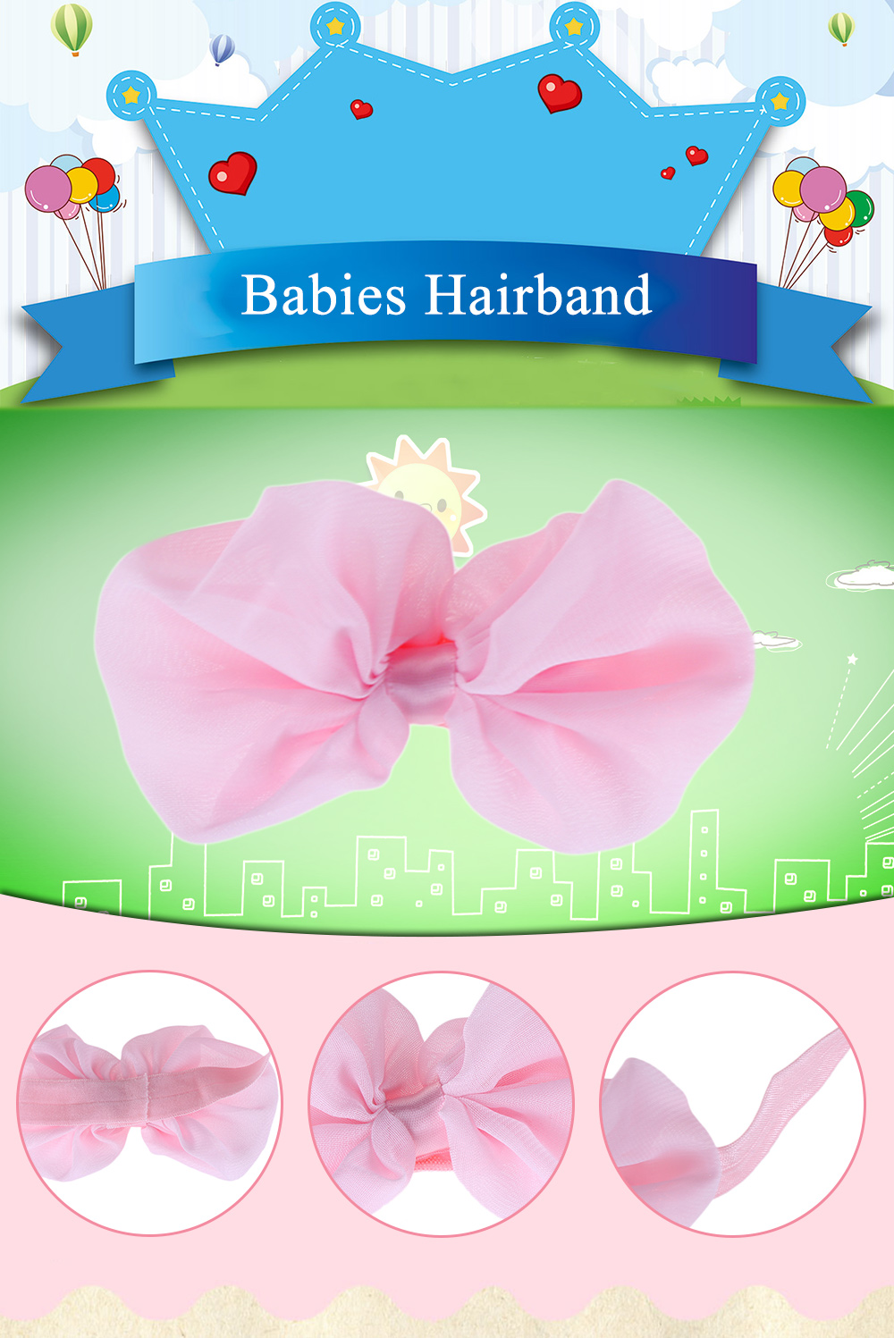 Bow Tie Decoration Pure Color Chiffon Babies Hairband.