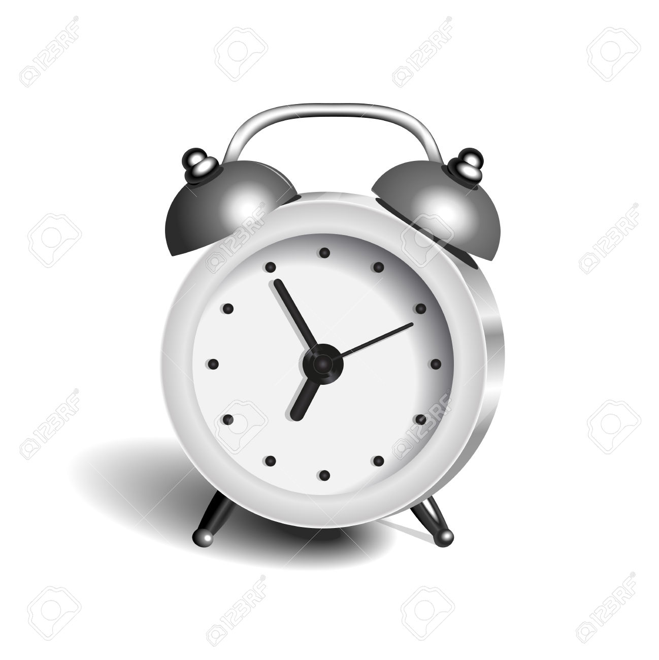 Alarm Clock 3d Vector Object Pure Color White Royalty Free.