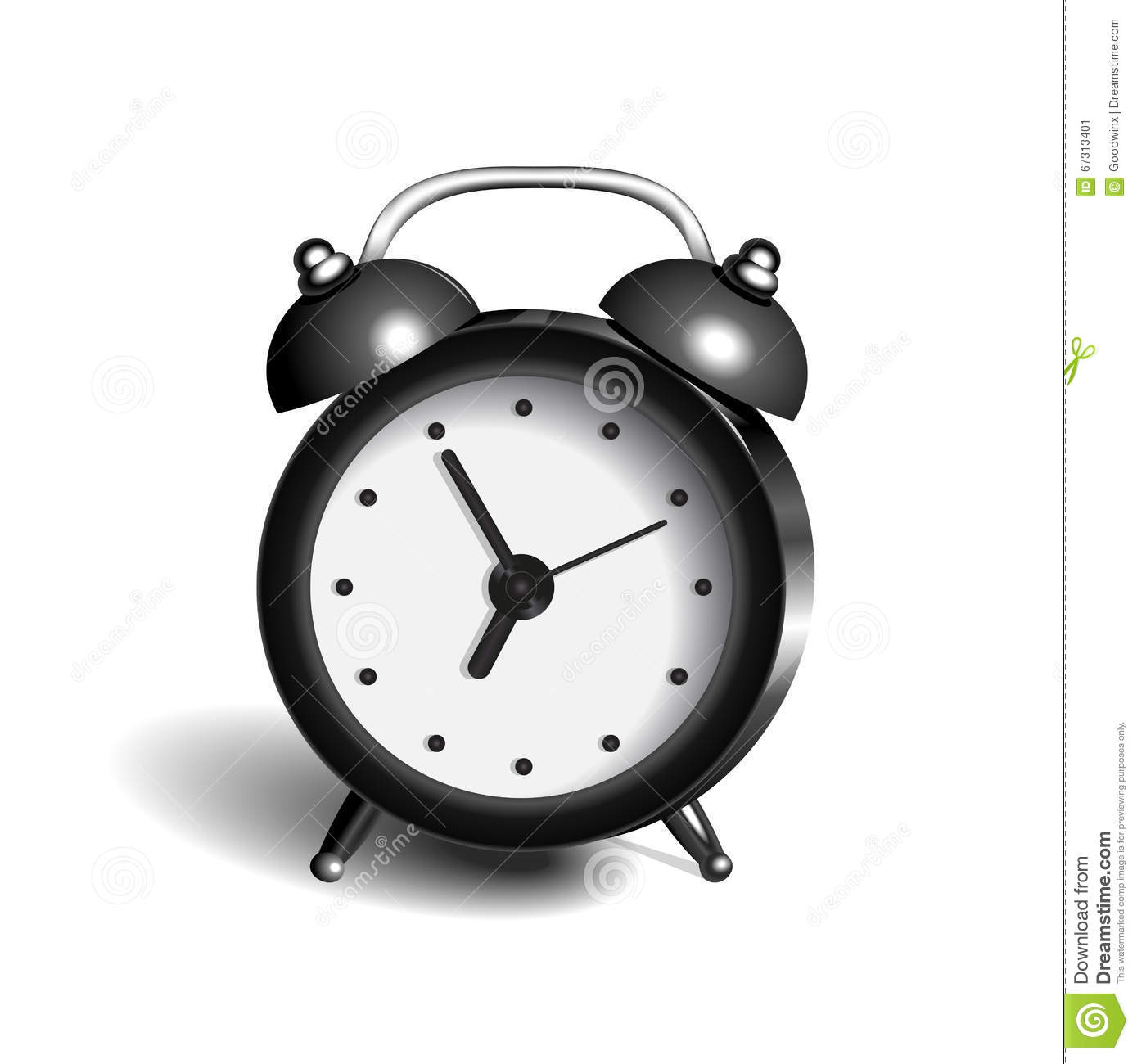 Alarm Clock 3d Vector Object Pure Color Black Stock Illustration.