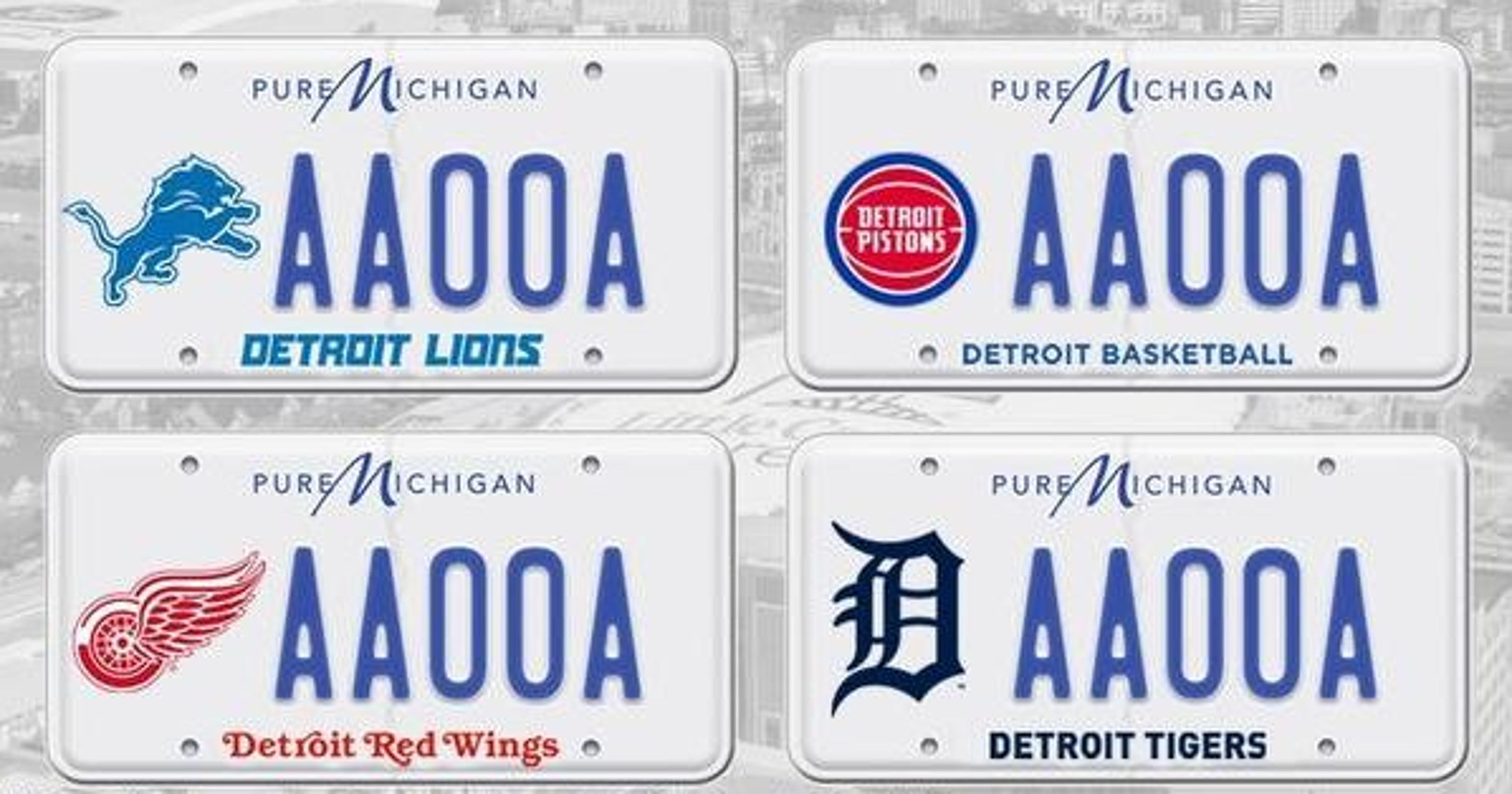 Detroit sports teams to be on Michigan license plates.