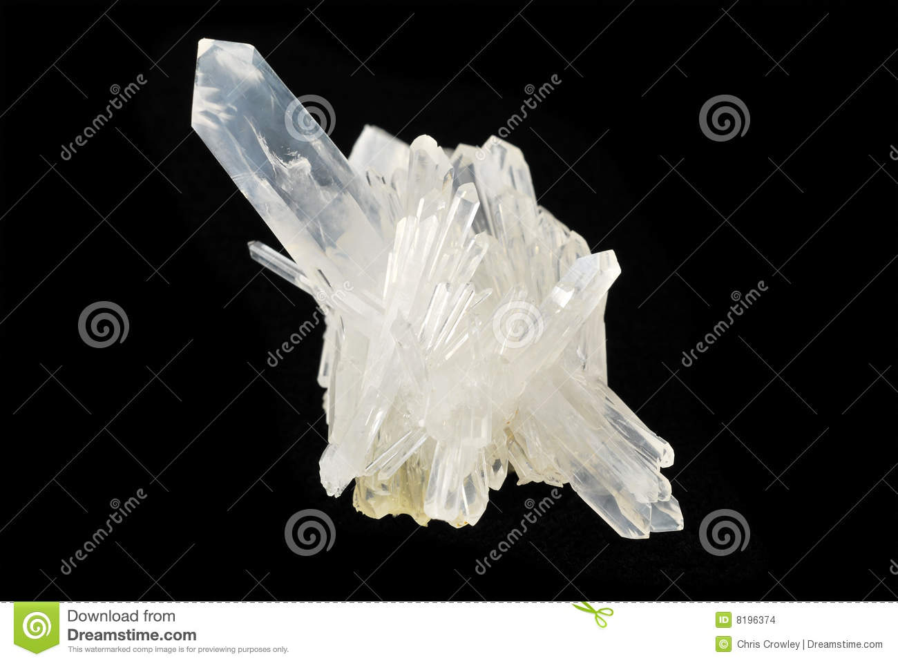 Pure Quartz Crystal On Black Stock Images.