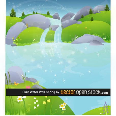 PURE WATER WELLSPRING VECTOR.ai, Clipart.