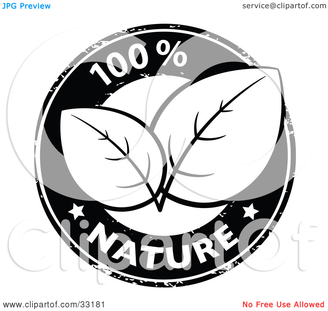 Clipart Illustration of a Black And White 100 Percent Pure Nature.