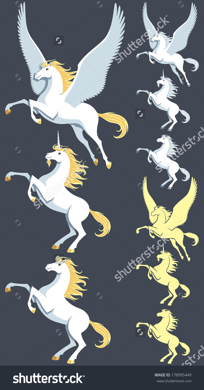Pegasus, Unicorn And Stallion Clip Art. Silhouette Versions And.