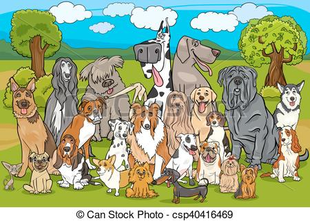 Clip Art Vector of purebred dogs group cartoon.