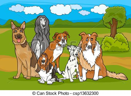 Vector Clipart of cute purebred dogs group cartoon illustration.