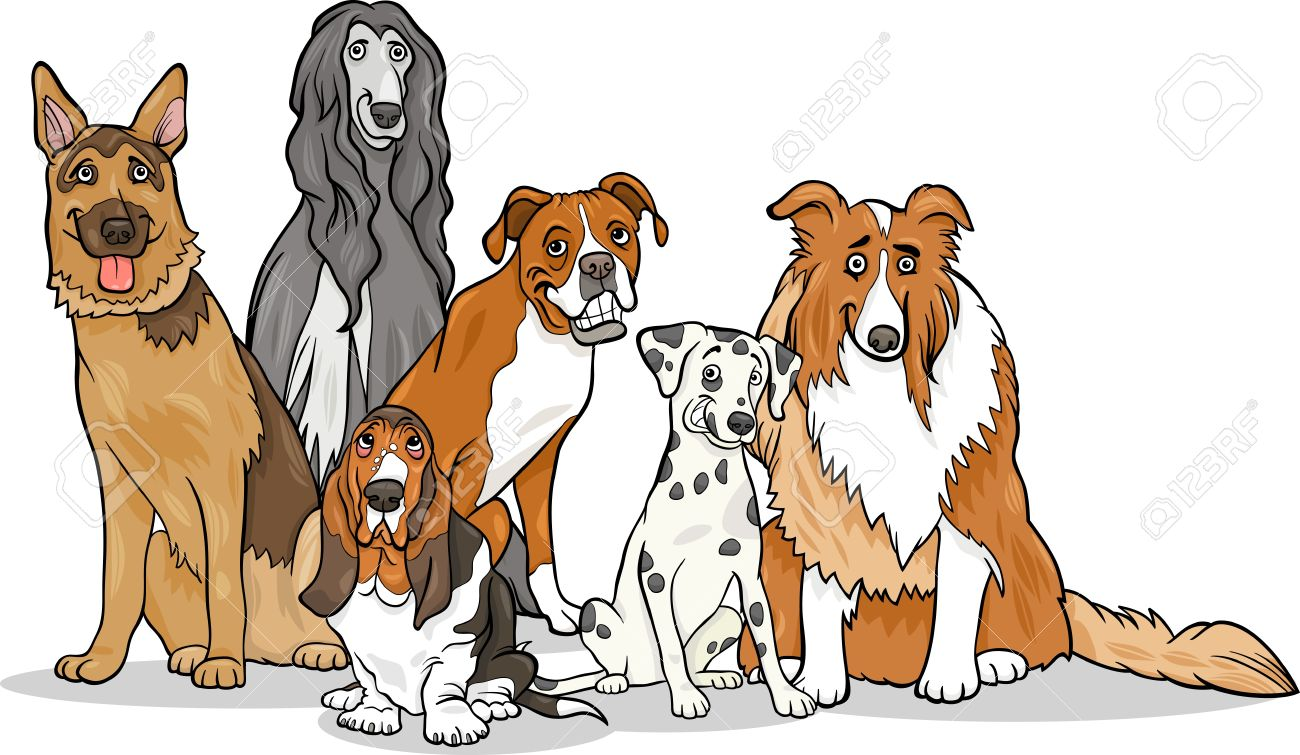Cartoon Illustration Of Cute Purebred Dogs Or Puppies Group.