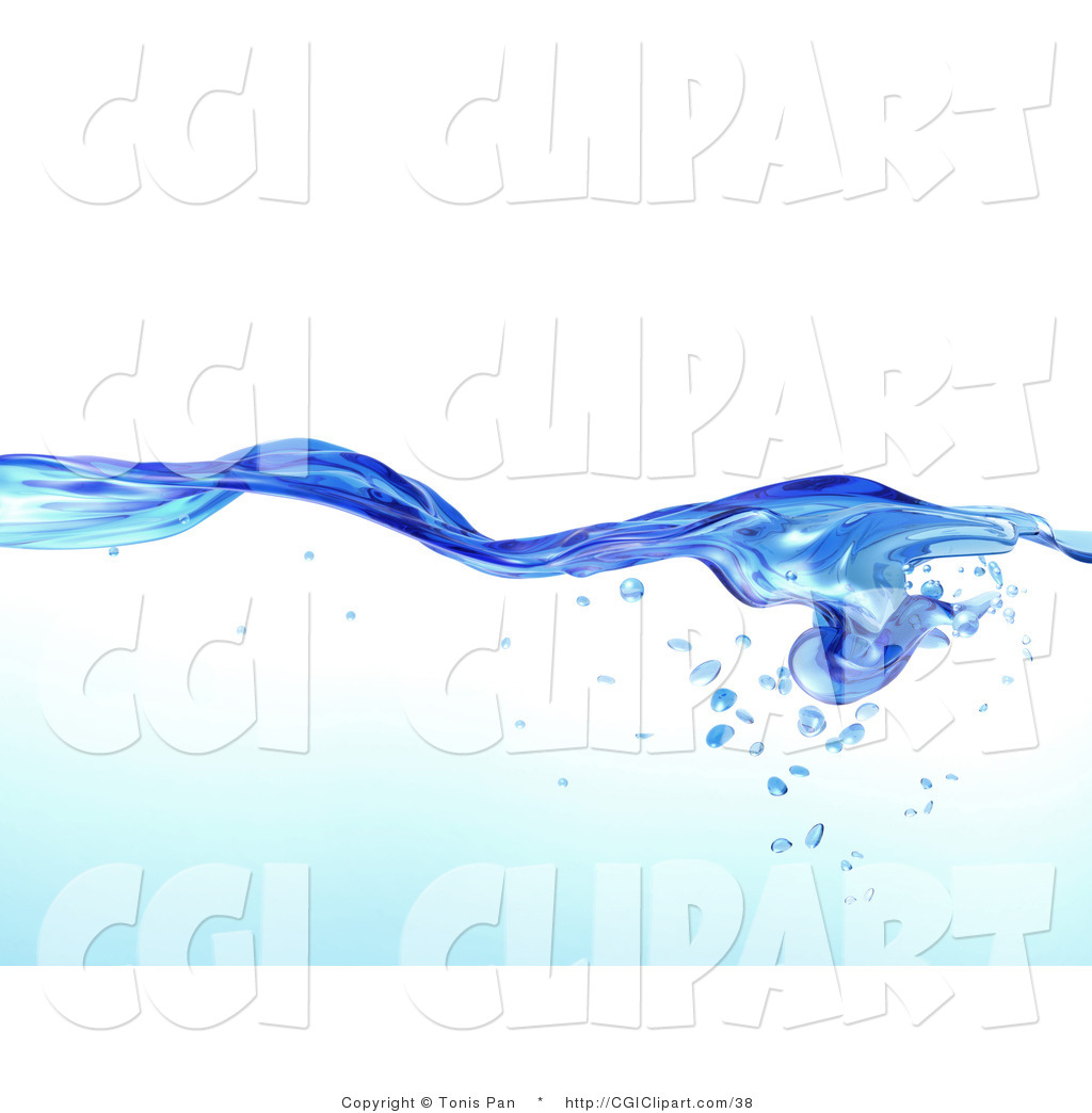 Clip Art of a Flowing Clear Blue Purified Blue Water Pattern with.