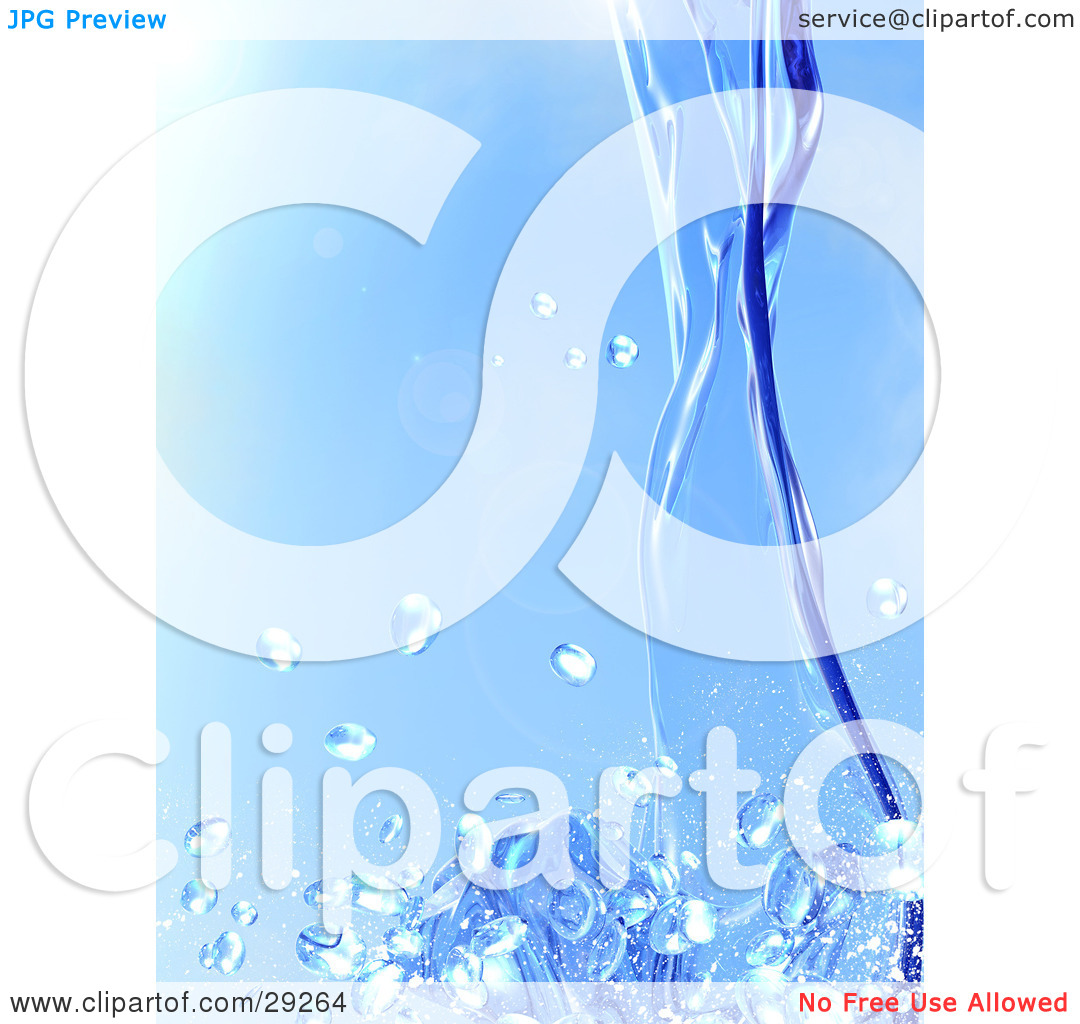 Clipart Illustration of Blue Purified Water Pouring Down And.