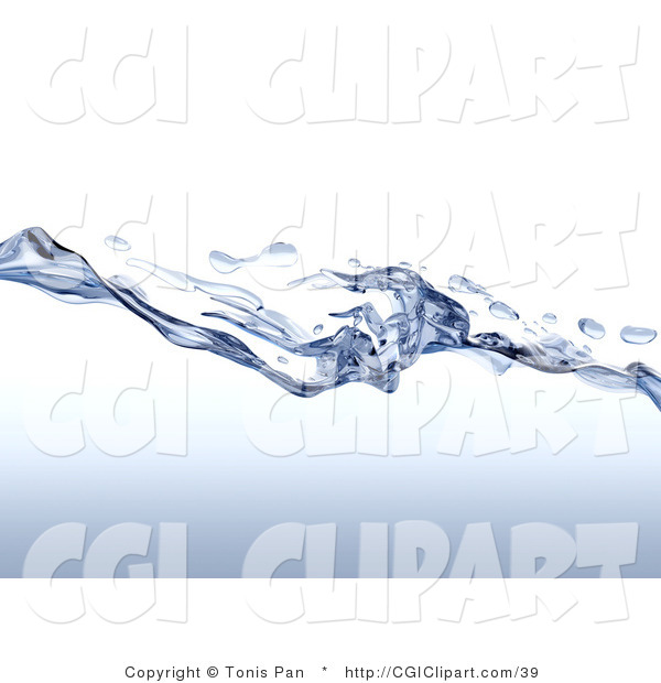 Clip Art of Splashing and Water Drops Along the Surface of Clear.