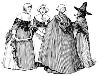 Puritan woman clipart.