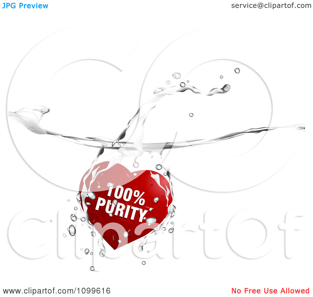Clipart Red One Hundred Percent Purity Heart Splashing Into Water.