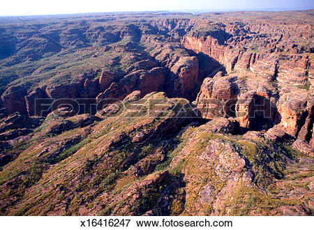 Picture of Australia, Kimberley, aerial view of rock formations at.