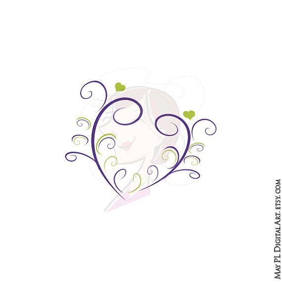 Wedding Flourish Clipart Purple Lime Green Vintage Elegant Curly.