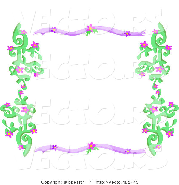 Vector of Purple and Green Border Frame with Vines and Flowers by.