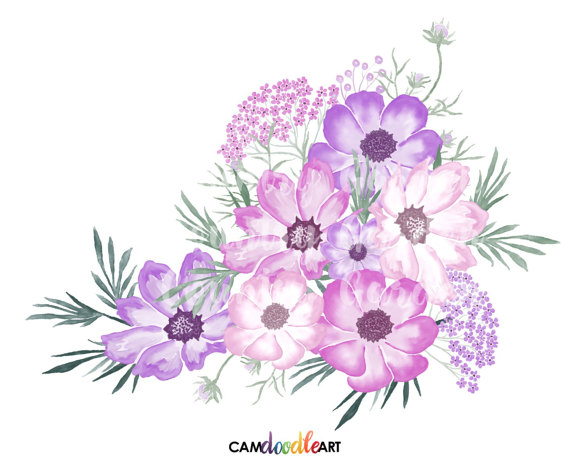 Pink and Purple Watercolor Flowers Clipart Set,Hand Painted.