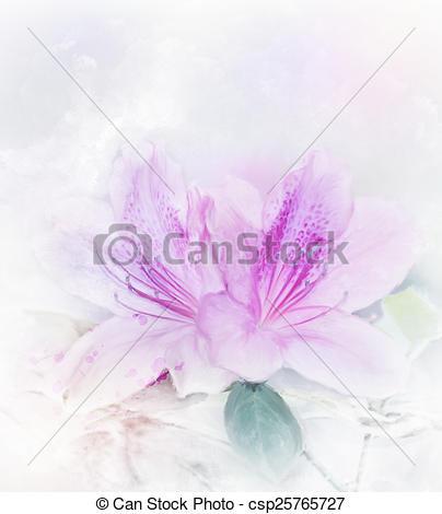 Clip Art of Pink Azalea Watercolor.