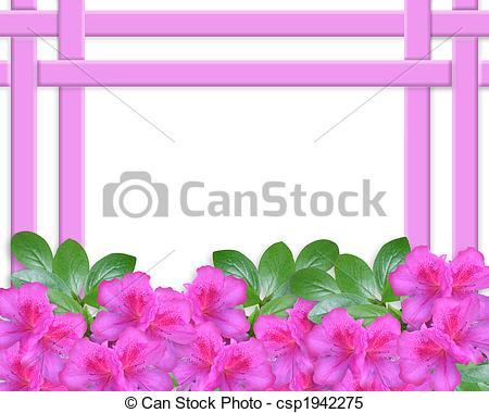 Stock Illustrations of Floral Azaleas Invitation Border.
