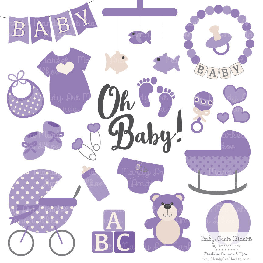 Purple Baby Carriage Clipart.