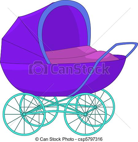 Clip Art Vector of Baby carriage.
