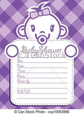 Clipart Vector of Purple Baby Girl Invitation.