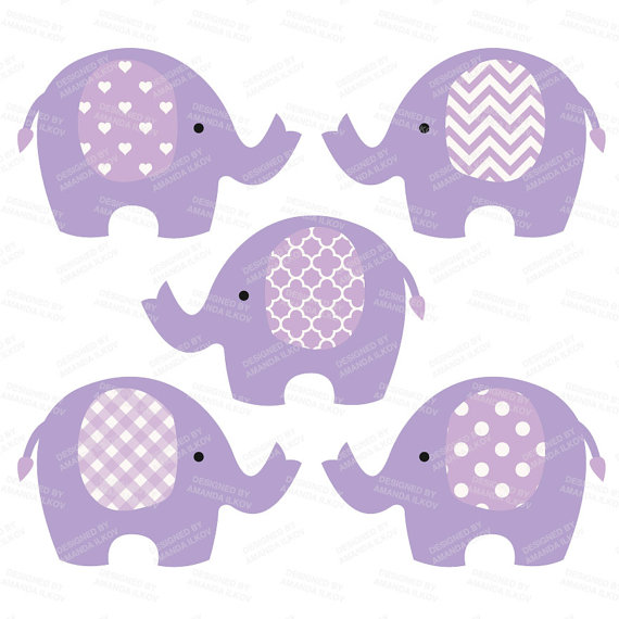 Premium Elephant Clipart Vectors & Digital Papers in Purple.