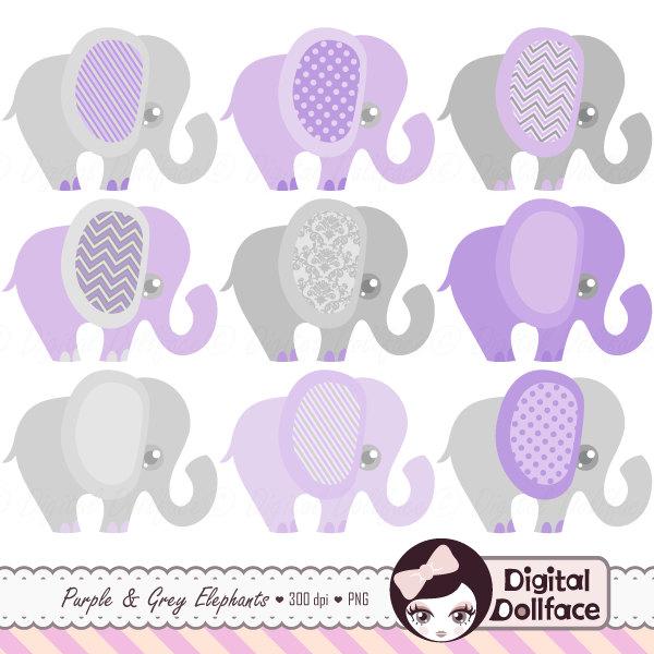 Purple Elephant Baby Shower Clip Art Purple And Grey Cute.