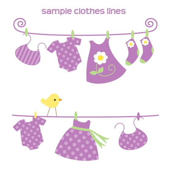 Purple Baby Laundry Clip Art.