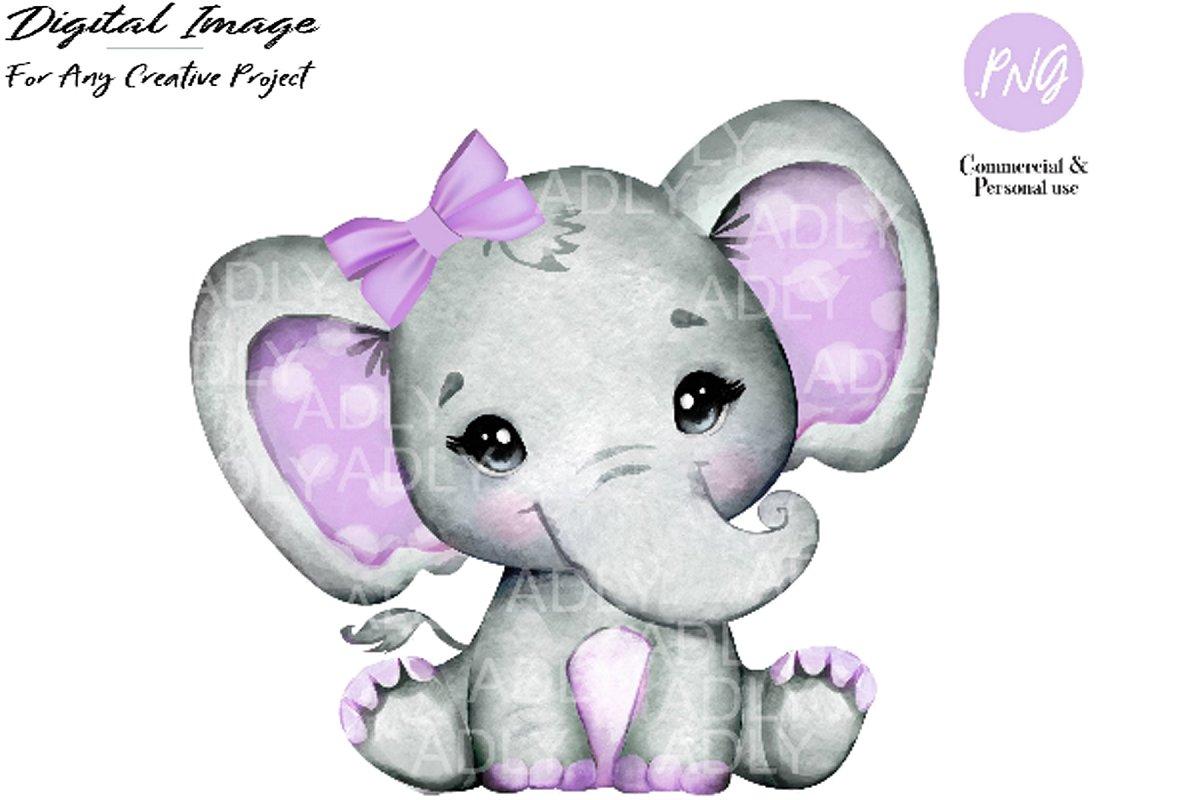 Purple girl elephant clip art.