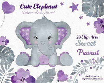 Cute Girl Peanut purple and gray elephant clipart.