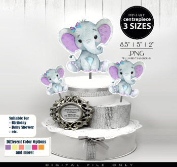Purple Teal Girl Elephant Clip Art Centrepiece for Baby Shower,table  decorations.