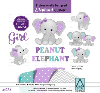 Peanut Elephant Mommy and baby clip art,gray purple teal baby shower, gray.