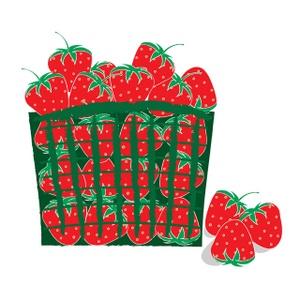 Purple Berries in Basket Clip Art.