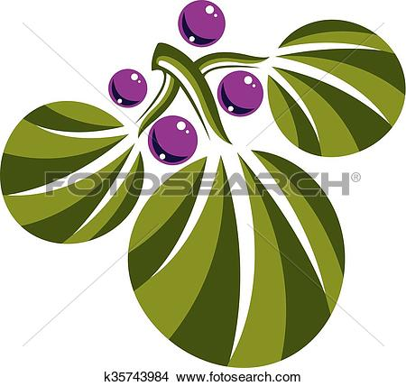 Clipart of Three vector flat green leaves with purple berries or.