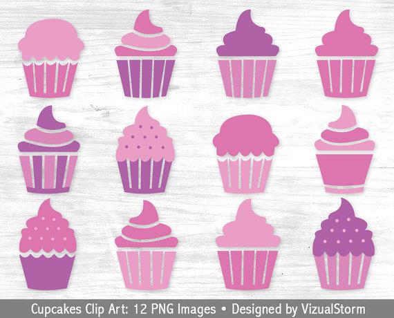 Pink Cupcake Clipart Digital Cupcakes Clip Art Purple.