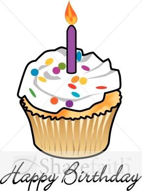 Purple Birthday Cupcake Clipart.