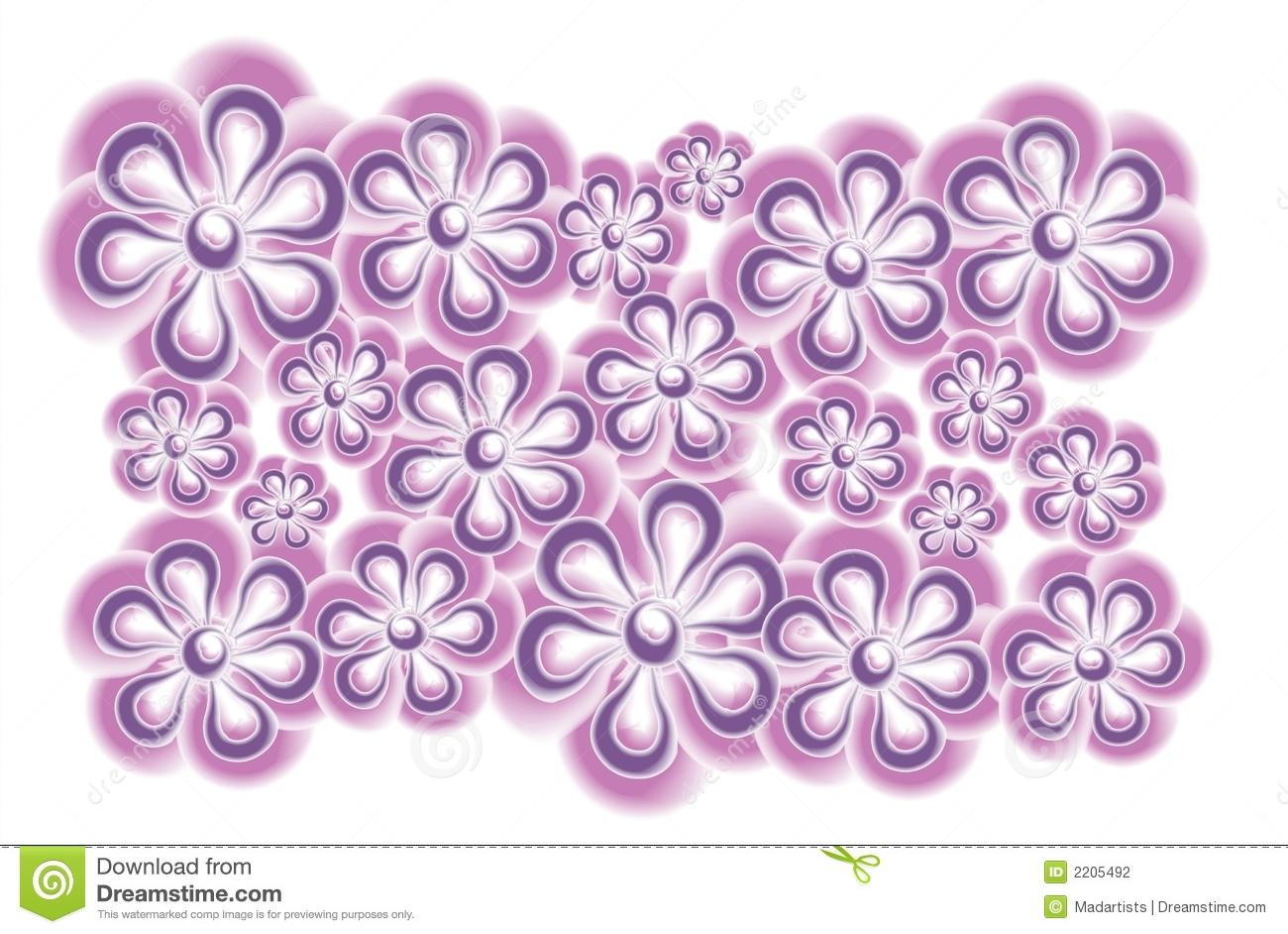 Purple Flowers Clip Art Stock Image.