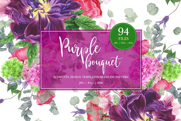 Purple bouquet watercolor clipart.
