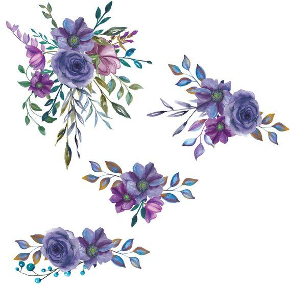 Watercolor Flower Clipart Purple Bouquet Clipart W Bouquet.