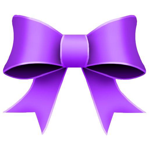 Purple bow.
