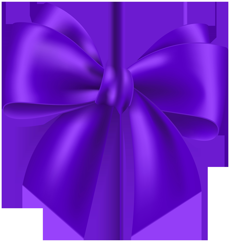 Purple Bow Transparent Clip Art Image.