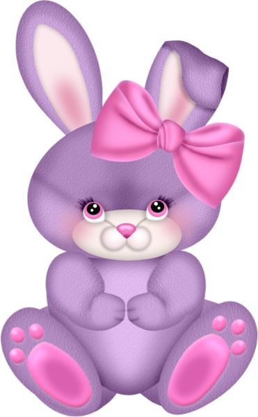 Purple Bunny with Pink Bow Clipart.