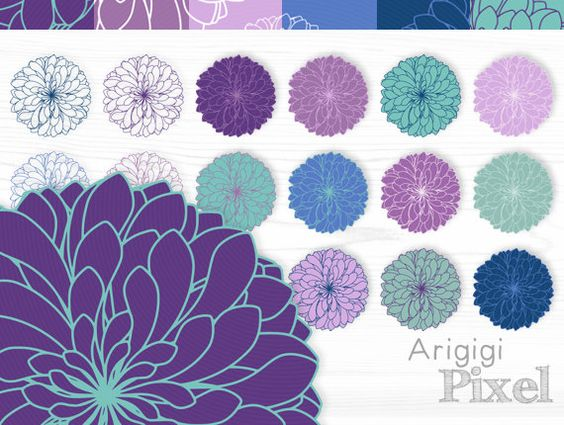Chrysanthemum clipart & digital paper set.